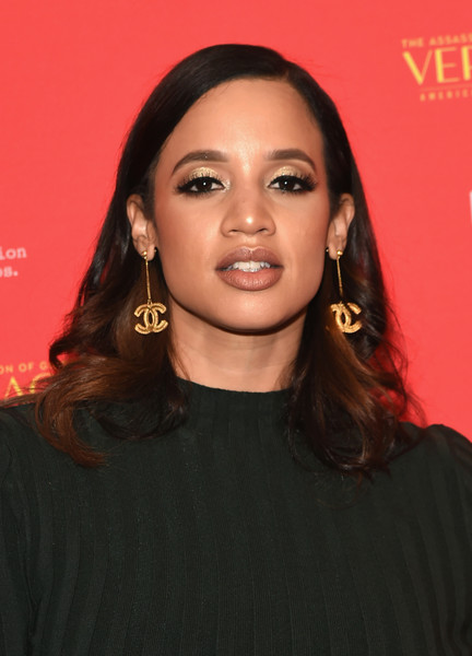 Dascha Polanco Gold Dangle Earrings [the assassination of gianni versace: american crime story,hair,face,eyebrow,hairstyle,lip,beauty,chin,forehead,long hair,black hair,dascha polanco,metrograph,new york screening]