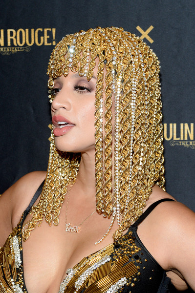 Dascha Polanco Headdress [the shows,shows,the blonds,hair,hairstyle,eyebrow,blond,beauty,lip,long hair,black hair,hair coloring,fashion accessory,moulin rouge,dascha polanco,musical - front row,new york city,blonds,new york fashion week]