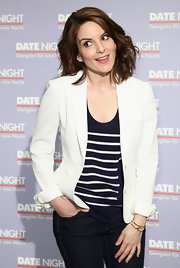 Tina Fey looked casual yet chic in a white blazer.