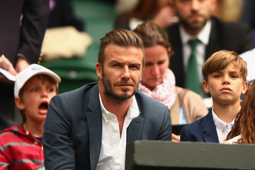David Beckham Romeo Beckham Day Nine: The Championships - Wimbledon 2015