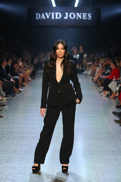 Jessica Gomes took a bold plunge with this black pantsuit worn sans shirt on the David Jones runway.