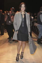 Bettina wore a gray coat with a leather lapel to Fashion Week in Germany.