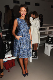 Michelle Keegan chose simple navy pumps to complement her frock.