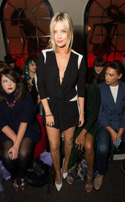 Laura Whitmore was chic in black and white at the PPQ show during London Fashion Week Spring/Summer 2015.