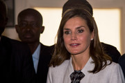 Queen Letizia of Spain visited the Cervantes Institute in Senegal wearing her hair in a classic mid-length bob.