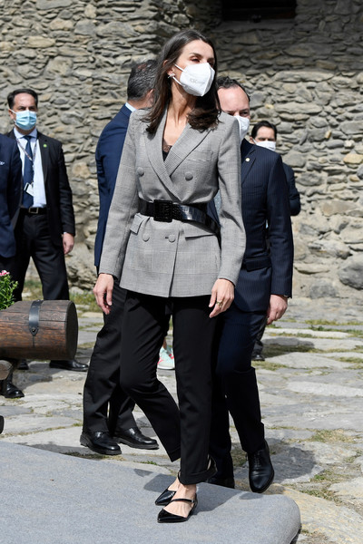 Queen Letizia of Spain looked smart in a gray glen plaid blazer by Carolina Herrera while touring Andorra.