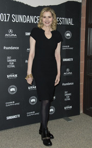 Geena Davis opted for a simple little black dress (which she punched up with a pair of moto boots) when she attended the Sundance premiere of 'Marjorie Prime.'