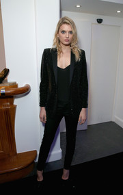 Lily Donaldson went for androgynous glamour in a beaded black pantsuit during the De Grisogono party in Cannes.