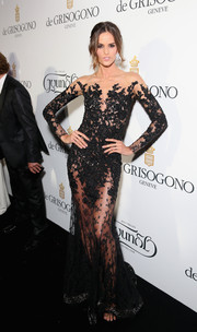 Izabel Goulart looked dangerously sexy in a sheer, embroidered Zuhair Murad gown at the De Grisogono party in Cannes.