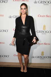 Barbara Palvin was edgy-chic in a V-neck LBD with an oversized, textured leather belt during the launch of the De Grisogono Crazy Skull watch.