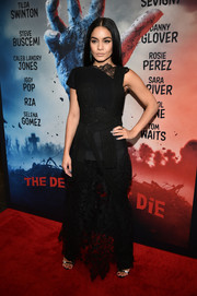 Vanessa Hudgens attended the New York premiere of 'The Dead Don't Die' wearing a lacy Vera Wang dress over a pair of trousers.