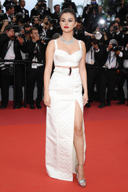 Selena Gomez completed her ensemble with silver platform sandals by Jimmy Choo.