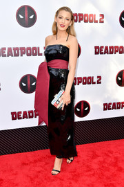 Blake Lively looked ultra chic in a strapless sequined dress with an oversized belt at the New York screening of 'Deadpool 2.'