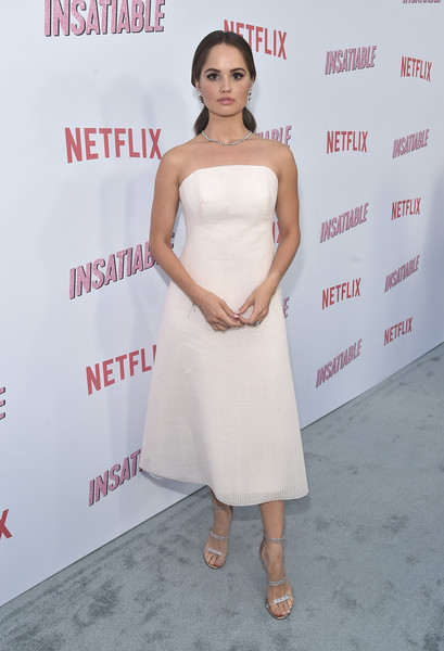 Debby Ryan Strappy Sandals [red carpet,insatiable,season,dress,clothing,shoulder,strapless dress,cocktail dress,hairstyle,premiere,beauty,fashion,joint,debby ryan,arclight hollywood,california,netflix,premiere]