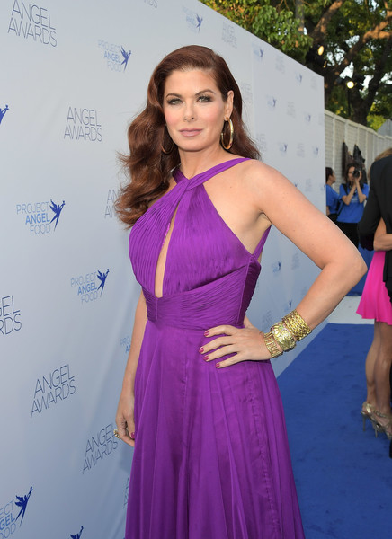 Debra Messing Cuff Bracelet [clothing,shoulder,dress,purple,lavender,carpet,hairstyle,premiere,fashion,long hair,debra messing,angel awards,hollywood,california,project angel food,2018 angel awards]