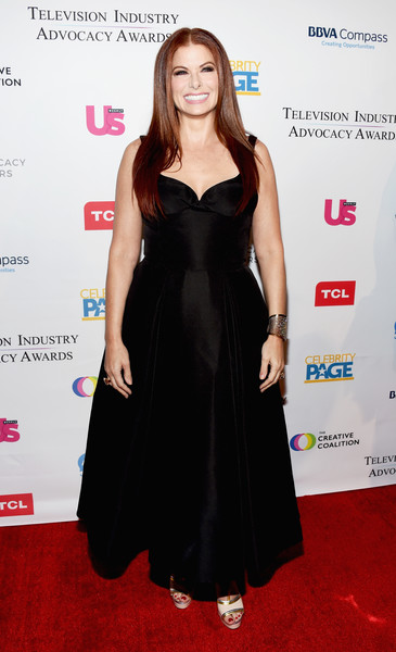 Debra Messing Evening Dress [clothing,dress,carpet,red carpet,cocktail dress,little black dress,hairstyle,fashion,flooring,fashion model,arrivals,debra messing,sofitel los angeles,california,beverly hills,creative coalition,television industry advocacy awards]