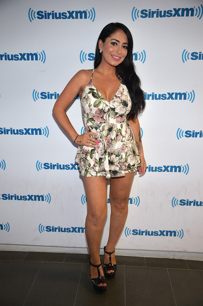 Deena Nicole Cortese Halter Dress [clothing,shoulder,fashion,beauty,leg,dress,thigh,fashion model,footwear,cocktail dress,celebrities,deena nicole cortese,new york city,siriusxm,siriusxm studios]