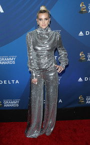Ashlee Simpson brought major shine to the Delta Air Lines Grammys celebration in a fully sequined turtleneck by Filles a Papa.