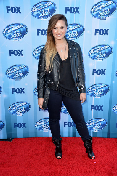 Demi Lovato Motorcycle Boots [american idol season finale,clothing,electric blue,carpet,leather,jacket,premiere,leather jacket,outerwear,textile,red carpet,demi lovato,arrivals,california,los angeles,nokia theatre l.a. live,fox,xiii finale]