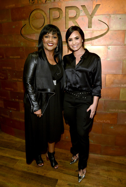 Demi Lovato Evening Pumps [handout photo,fashion,little black dress,event,fashion design,demi lovato,cece winans,nashville,grand ole opry house,tennessee,hand in hand,hand in hand: a benefit for hurricane relief]