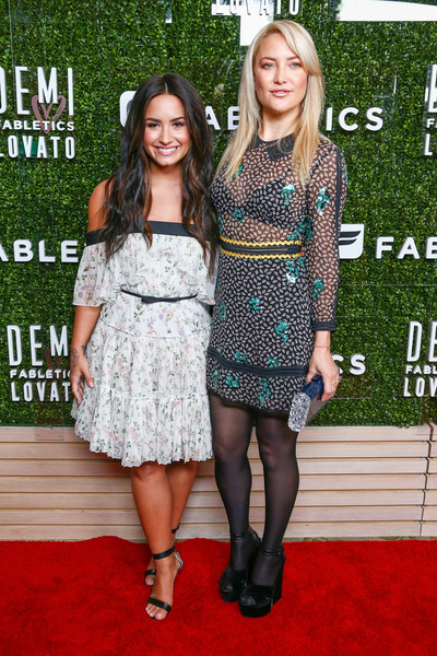 More Pics of Demi Lovato Strappy Sandals (1 of 12) - Demi Lovato Lookbook - StyleBistro [clothing,carpet,dress,red carpet,fashion,cocktail dress,premiere,flooring,footwear,event,capsule collection - arrivals,demi lovato,kate hudson,california,los angeles,beverly hills hotel,demi lovato launches fabletics,fabletics capsule collection,l,launch]