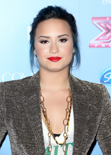 Demi Lovato Layered Chainlink Necklaces [the x factor,hair,lip,hairstyle,eyebrow,black hair,beauty,skin,fashion,forehead,long hair,demi lovato,california,los angeles,sls hotel,fox,party,finalist party]