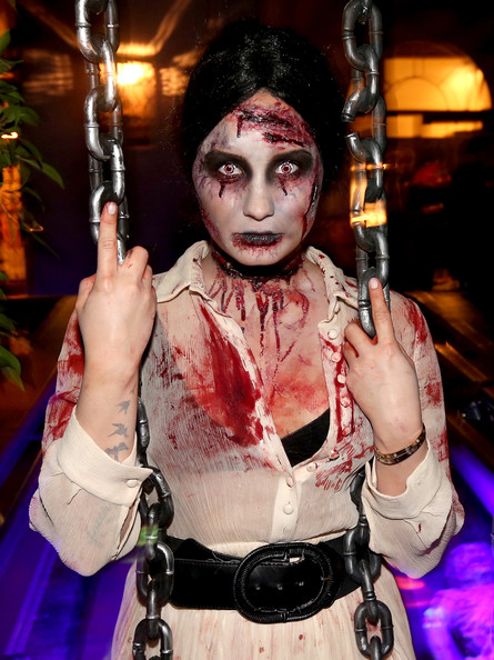 Demi Lovato Stage Makeup [demi lovato,singer,zombie,fictional character,fiction,flesh,hand,costume,black hair,west hollywood,california,halloween party]