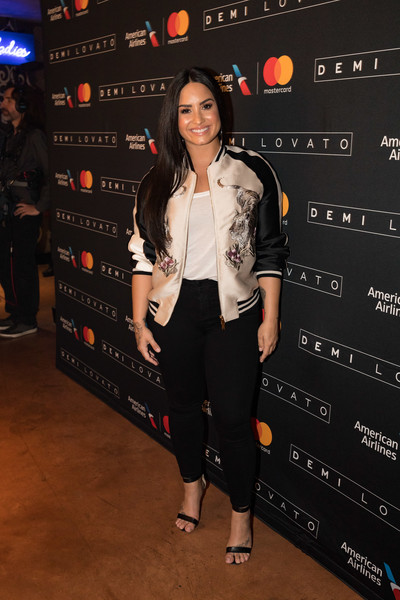 Demi Lovato Bomber Jacket [clothing,fashion,footwear,event,shoe,premiere,performance,style,demi lovato,cardmembers,dallas,tx,american airlines,house of blues,mastercard,aadvantage \u0308]