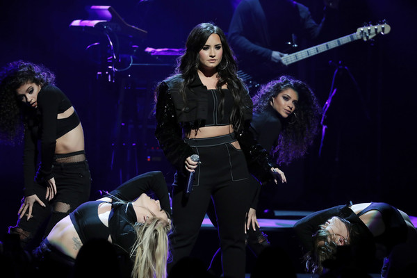 Demi Lovato Cropped Jacket [performance,entertainment,music artist,performing arts,stage,concert,event,music,public event,musician,demi lovato,cardmembers,aadvantage mastercard,new york city center,american airlines,mastercard]