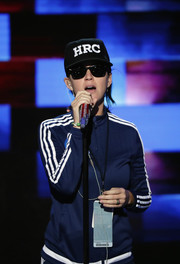 Katy Perry wore a custom 'HRC' baseball cap at the Democratic National Convention.