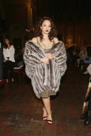 Dascha Polanco cut a luxe figure in a striped fur coat at the Dennis Basso fashion show.