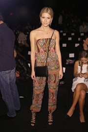 Lena Gercke showed off her breezy style with this printed strapless jumpsuit by Desigual during the label's fashion show.