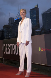 Nicole Kidman looked smart in a white pantsuit by Ermanno Scervino at the Australian premiere of 'Destroyer.'
