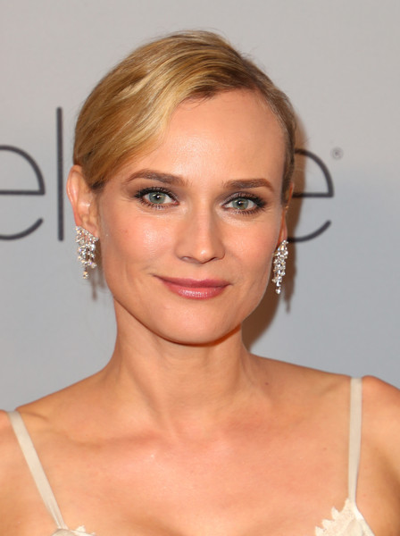 Diane Kruger Diamond Chandelier Earrings [hair,face,hairstyle,eyebrow,blond,lip,chin,beauty,skin,shoulder,diane kruger,beverly hills,california,the beverly hilton hotel,instyle,red carpet,warner bros. 75th annual golden globe awards,warner bros. 75th annual golden globe awards post-party]