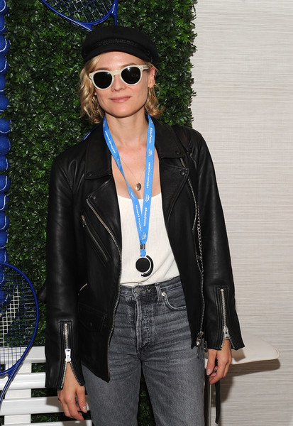 Diane Kruger Round Sunglasses [grey goose toasts,clothing,leather,jacket,leather jacket,eyewear,jeans,sunglasses,street fashion,fashion,electric blue,diane kruger,men,grey goose suite,new york city,us open,honeydeuce season,us open finals season]