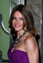 Natalia Vodianova showed off her black pearls while attending the DVF launch party.