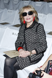 Barbara Walters hid her eyes behind a pair of rectangular sunglasses when she attended the Diane Von Furstenberg fashion show.