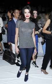 Janice Dickinson was dressed down in a gray T-shirt and a pair of jeggings at the Diane Von Furstenberg fashion show.