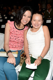Wendi Deng wore a black wrap-around bracelet at Diane Von Furstenberg's Spring 2013 presentation.