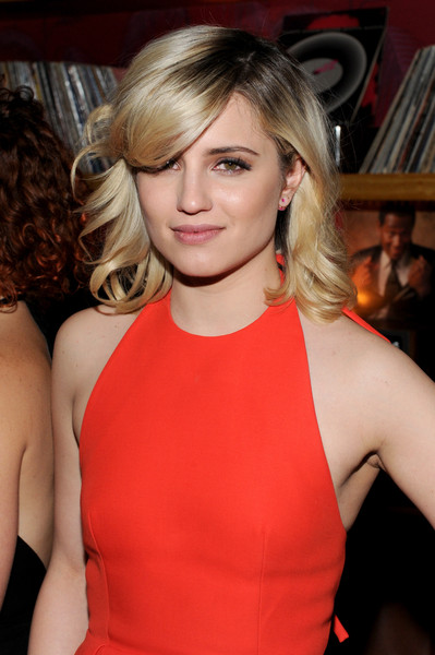 Dianna Agron Medium Wavy Cut with Bangs [bare,hair,blond,beauty,human hair color,hairstyle,fashion model,eyebrow,lady,chin,long hair,dianna agron,by ldv hospitality,new york city,ldv hospitality,tribeca film festival after party for bare]