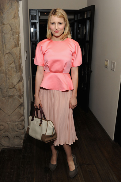 Dianna Agron Leather Tote [clothing,hair,pink,shoulder,blond,fashion,dress,hairstyle,footwear,cocktail dress,marni,dianna agron,lloyd wright,collection launch - inside,los angeles,california,sowden house,h m,h m collection launch]