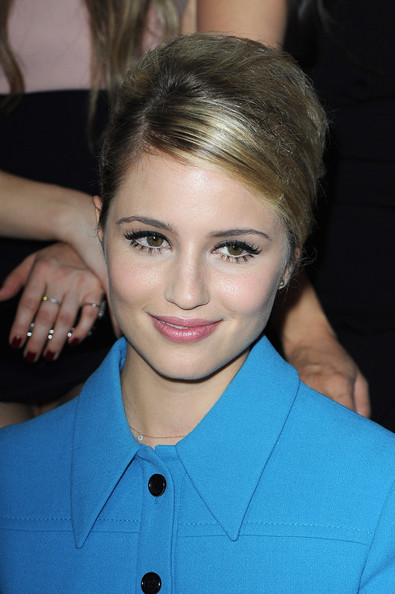 Dianna Agron Retro Updo [hair,eyebrow,beauty,fashion model,hairstyle,chin,cheek,fashion,forehead,smile,dianna agron,miu miu,front row,paris fashion week womenswear spring,part,paris,france,miu miu spring,show,paris fashion week]