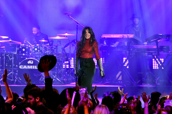 More Pics of Camila Cabello Jeweled Gloves (2 of 32) - Jeweled Gloves Lookbook - StyleBistro [performance,entertainment,concert,performing arts,music artist,rock concert,music,stage,event,purple,camila cabello,la,california,party,dick clarks new years rockin eve with ryan seacrest]