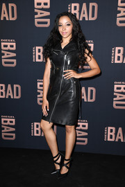 Tinashe was biker-glam in a black zip-front leather dress while attending the launch of Diesel's new fragrance for men.