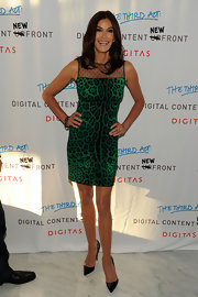 Teri Hatcher showed off her leopard print cocktail dress. Sexy and sophisticated all in one.