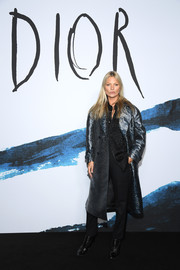 Kate Moss was rocker-glam in a metallic leopard-print coat by Dior Homme during the brand's Fall 2019 show.