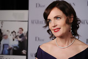 An exquisite diamond tennis necklace completed Elizabeth McGovern's timeless ensemble at the New York Film Festival.