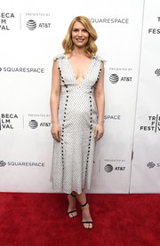 Claire Danes donned a low-cut, embroidered midi dress by Prabal Gurung for the 2018 Tribeca Film Festival.