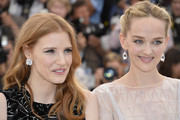 Jessica Chastain wore a lovely pair of diamond flower studs to the 'Disappearance of Eleanor Rigby' photocall in Cannes.