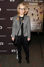 Rachel Harris chose a sleek gray blazer to pair over her black blouse at the 'Disconnect' screening.